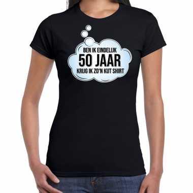 Ben ik eindelijk 50 jaar / sarah verjaardag cadeau t-shirt / shirt zwart voor dames