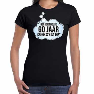 Ben ik eindelijk 60 jaar verjaardag cadeau t-shirt / shirt zwart voor dames