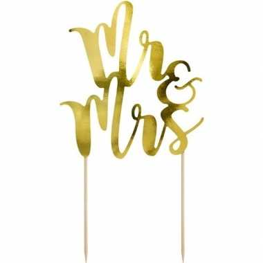 Bruidstaart decoratie topper mr mrs goud 25 cm