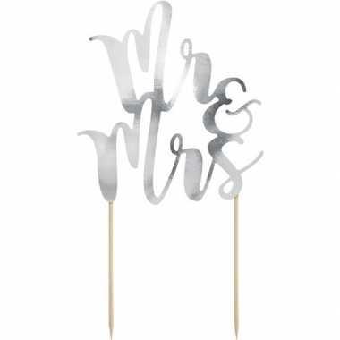 Bruidstaart decoratie topper mr & mrs zilver 25 cm
