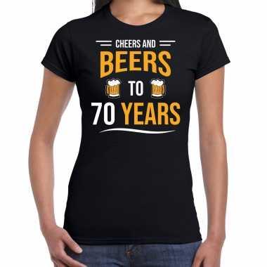 Cheers and beers 70 jaar verjaardag cadeau t-shirt zwart voor dames