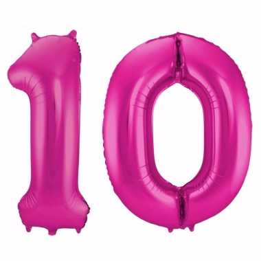 Cijfer 10 ballon roze 86 cm