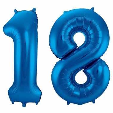 Cijfer 18 ballon blauw 86 cm