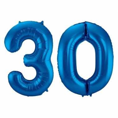 Cijfer 30 ballon blauw 86 cm