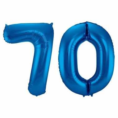 Cijfer 70 ballon blauw 86 cm