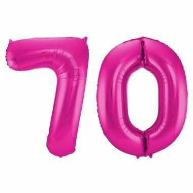 Cijfer 70 ballon roze 86 cm