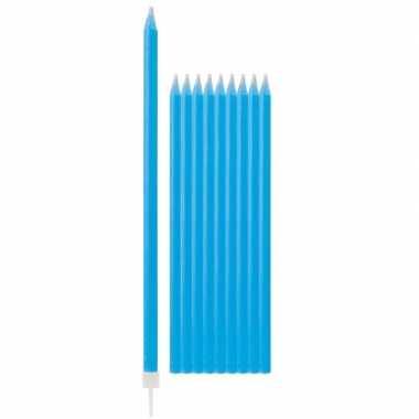 Feest kaarsen blauw met glitters 10x