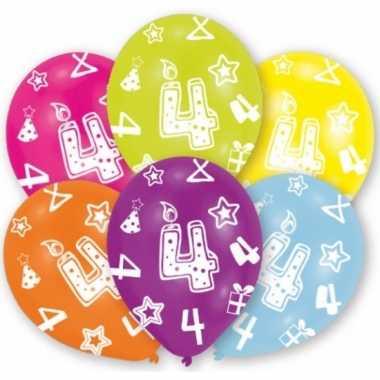 Feestversiering gekleurde ballonnen 4 jaar 6 stuks