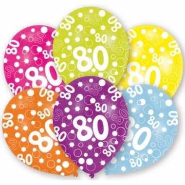 Feestversiering gekleurde ballonnen 80 jaar 6 stuks