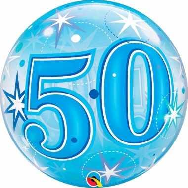 Folie helium ballon 50 jaar blauw 55 cm