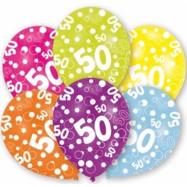 Gekleurde sarah verjaardag ballonnen 50 jaar 6 stuks