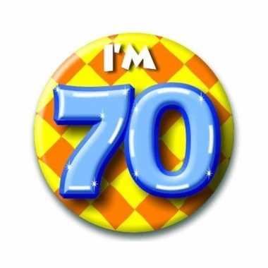 Gekleurde verjaardags button 70 jaar
