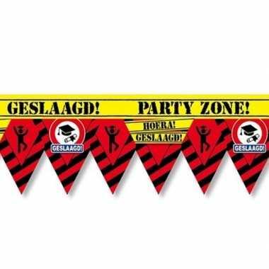 Geslaagd party tape/markeerlint waarschuwing 12 m versiering