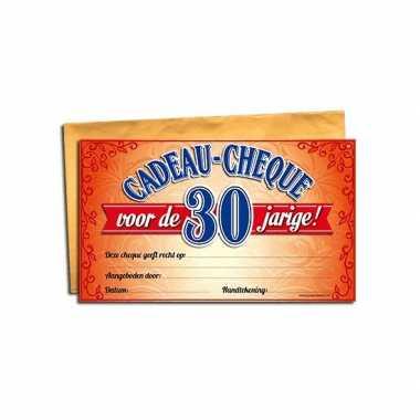 Gift cheque voor de 30 jarige