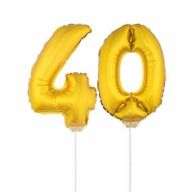 Gouden opblaas cijfer 40 op stokjes