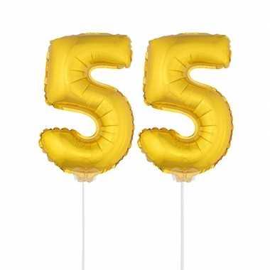 Gouden opblaas cijfer 55 op stokjes