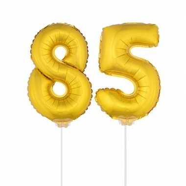 Gouden opblaas cijfer 85 op stokjes