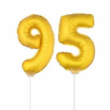 Gouden opblaas cijfer 95 op stokjes