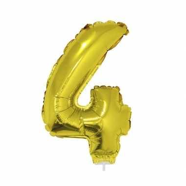 Gouden opblaas cijfer ballon 4 op stokje 41 cm