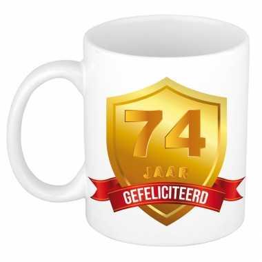 Gouden wapen 74 jaar mok / beker - verjaardag/ jubileum
