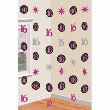 Hangdecoratie slingers roze 16 jaar