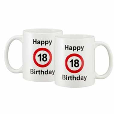 Happy 18 birthday verkeersbord cadeau mok / beker wit 330 ml