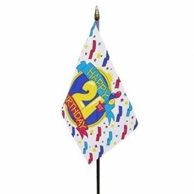 Happy 21st birthday vlaggetje met stokje