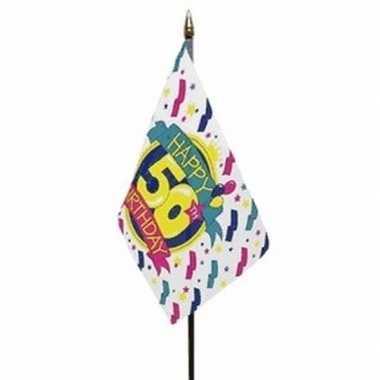 Happy 50th birthday vlaggetje met stokje