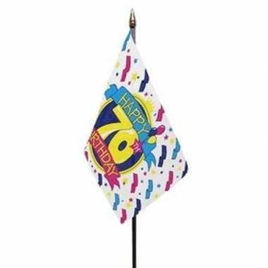 Happy 70th birthday vlaggetje met stokje