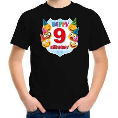 Happy birthday 9e verjaardag t-shirt / shirt 9 jaar met emoticons zwart voor kinderen
