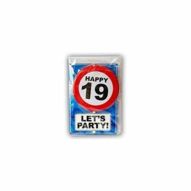 Happy Birthday Leeftijd Kaart 19 Jaar Verjaardag Versiering Nl