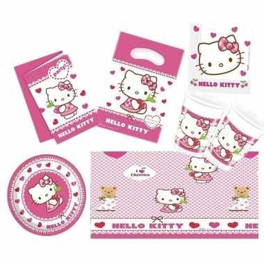 Hello kitty thema kinderfeestje versiering pakket 7-12 personen
