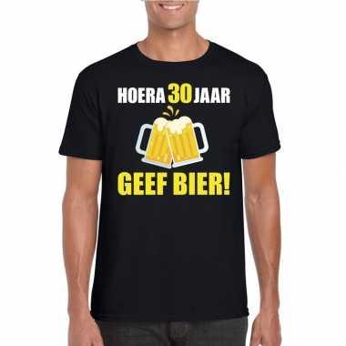 Hoera 30 jaar geef bier t-shirt zwart heren