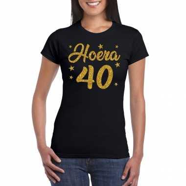 Hoera 40 jaar verjaardag cadeau t-shirt goud glitter op zwart dames