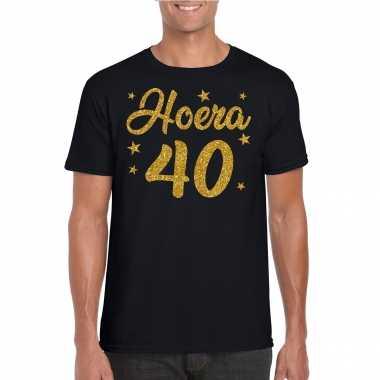 Hoera 40 jaar verjaardag cadeau t-shirt goud glitter op zwart heren