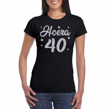 Hoera 40 jaar verjaardag cadeau t-shirt zilver glitter op zwart dames