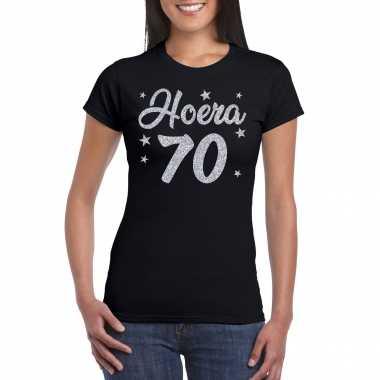 Hoera 70 jaar verjaardag cadeau t-shirt zilver glitter op zwart dames
