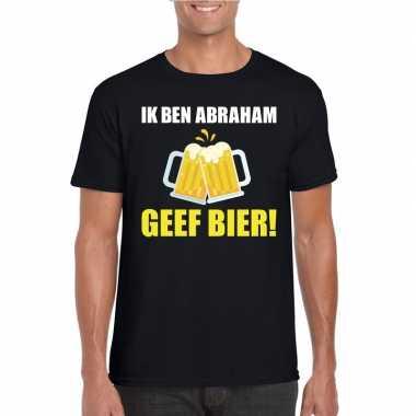 Ik ben abraham geef bier t-shirt zwart heren
