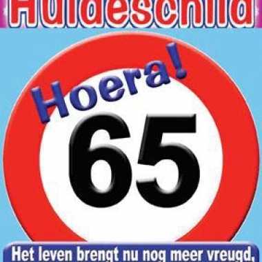 Kroonschild stopbord 65 verjaardag