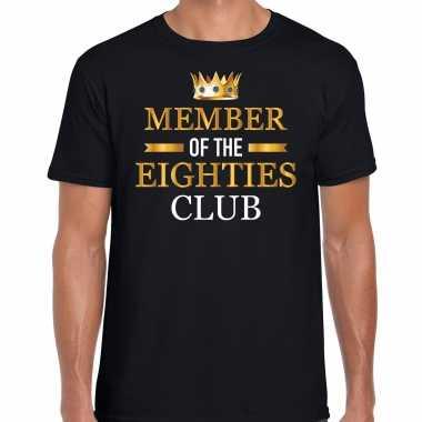Member of the eighties club verjaardag cadeau t-shirt 80 jaar zwart voor heren