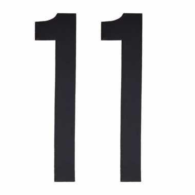 Plakcijfers 11 zwart 10 cm