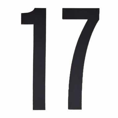 Plakcijfers 17 zwart 10 cm