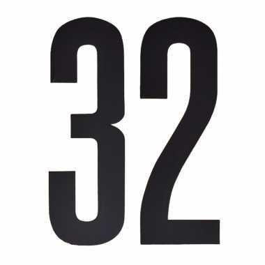 Plakcijfers 32 zwart 10 cm