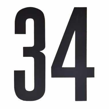 Plakcijfers 34 zwart 10 cm