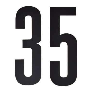 Plakcijfers 35 zwart 10 cm