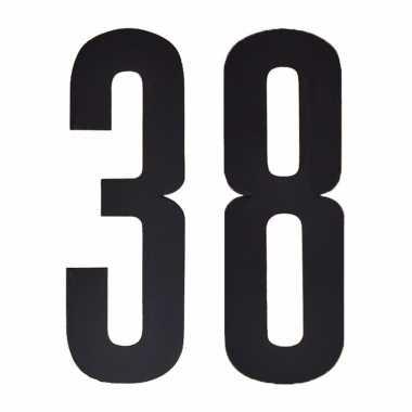 Plakcijfers 38 zwart 10 cm