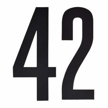 Plakcijfers 42 zwart 10 cm