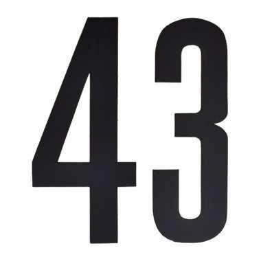 Plakcijfers 43 zwart 10 cm
