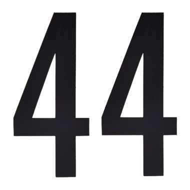 Plakcijfers 44 zwart 10 cm
