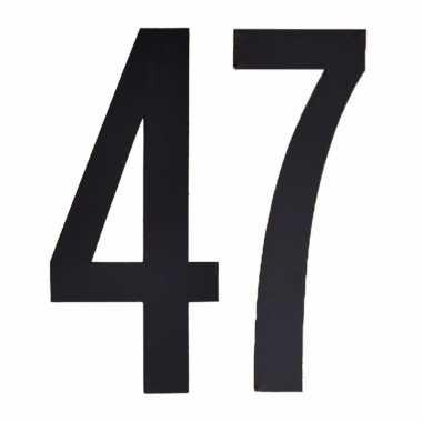 Plakcijfers 47 zwart 10 cm